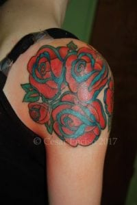 Roses on shoulder low res with copyright